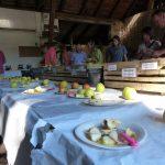 Apfelverkostung in der Scheune